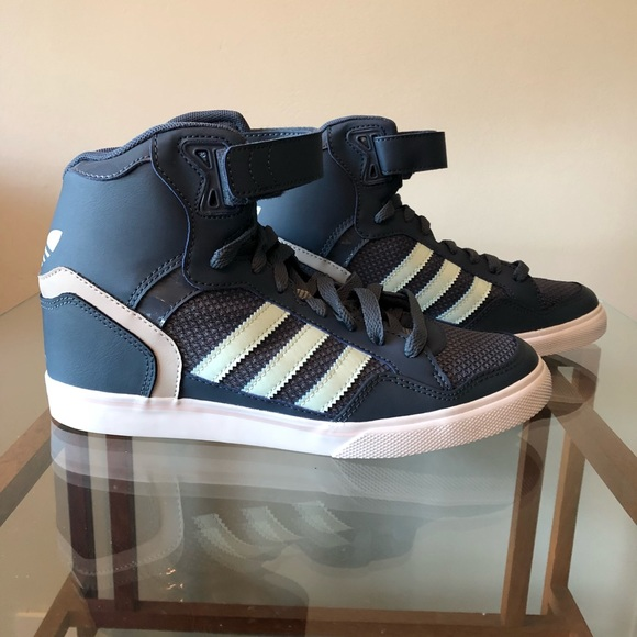 "7e050c618467 NWT Adidas ""Extaball Up"" hightop sneakers wedges"